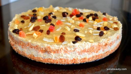 морковный торт с орехами, веганский рецепт